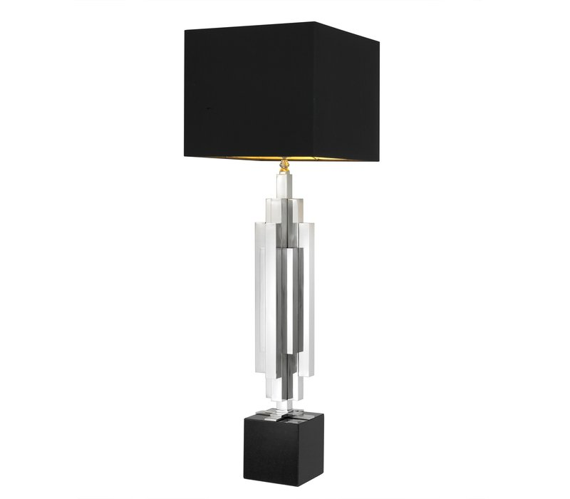 Table lamp 'Ellis' stainless steel with a shade in black