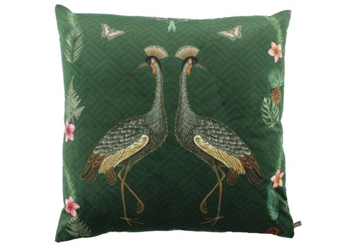 CLAUDI Cushion Bibi Velvet Crane Dark Green