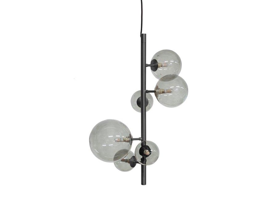 Hanglamp Pendant Metal Black & Smoke Glass + Led
