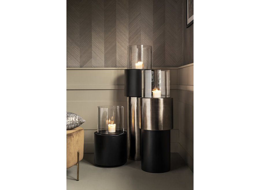 Design windlicht 'Beru' in de kleur Anthracite, maat Large