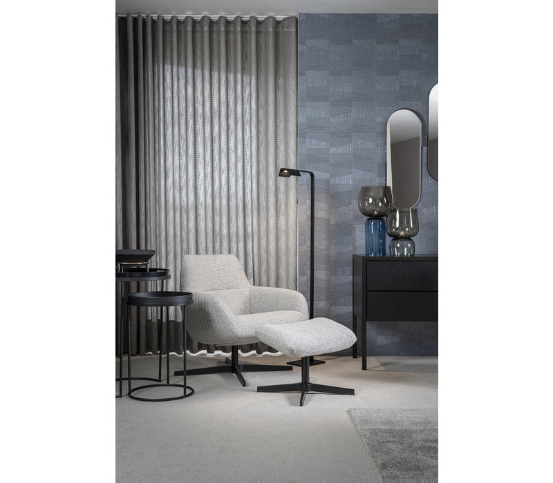 Loungesessel 'Finley' mit Fußschemel -light grey melange