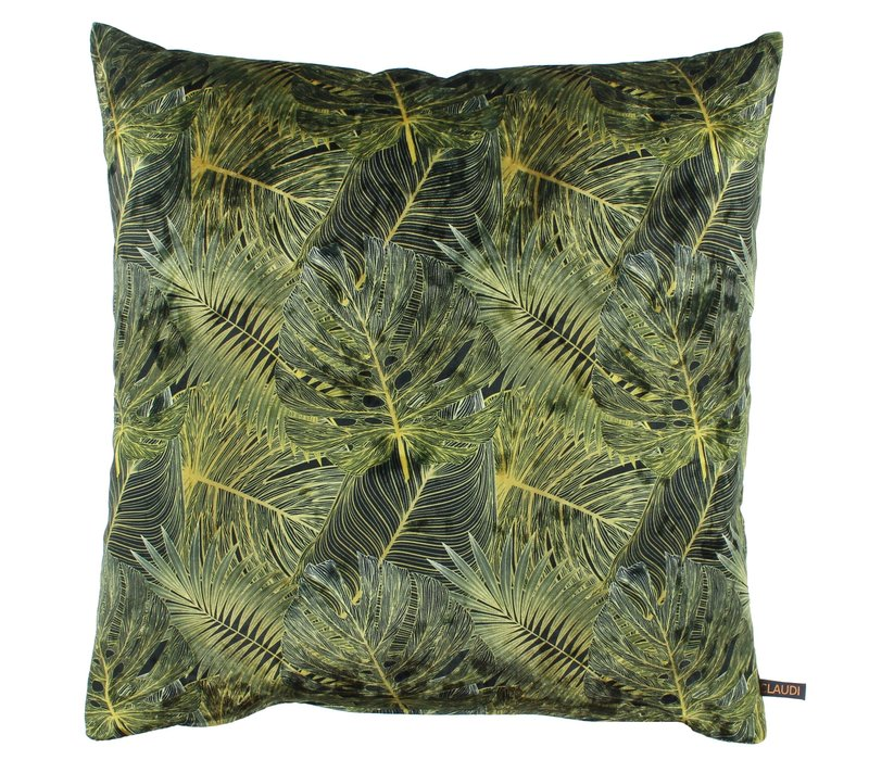 Cushion Dashing Leaves Ice Black + Gold