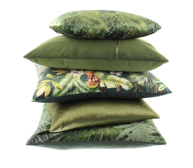 Cushion Dashing Leaves Ice Green + Gold