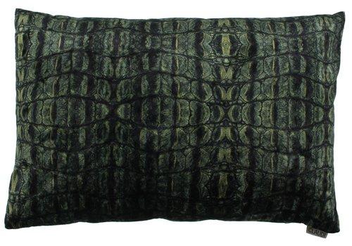CLAUDI Kussen  Croco Dark Green