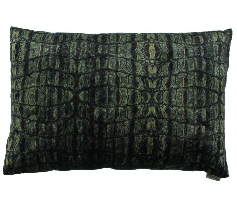 Sierkussen Croco in de kleur Dark Green