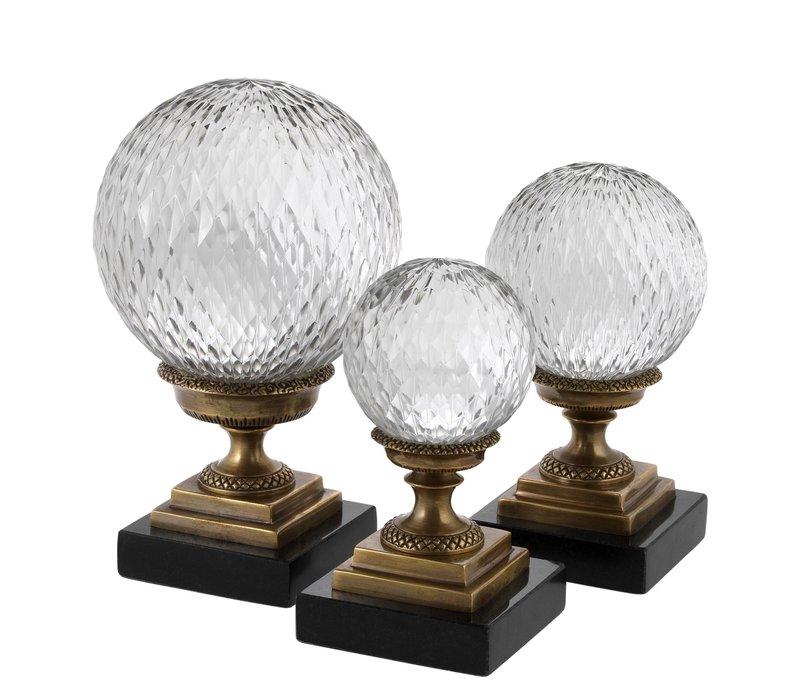 Deco object 'Divani' set of 3 - Bronze