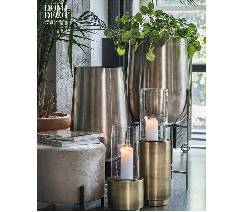 Plantenbak op voet zilver - maat S - aluminium