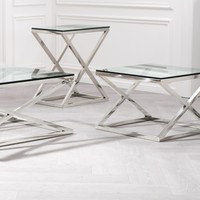 Glass side table 'Criss Cross High', 62 x 42 x 72 cm (h)