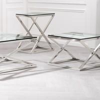 Glazen bijzettafel 'Criss Cross High', 62 x 42 x 72cm (h)