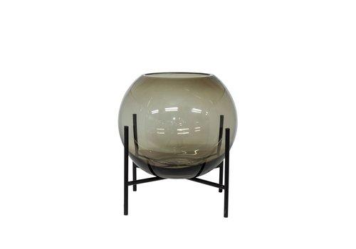 Dome Deco Windlicht/Vaas op zwarte standaard - S