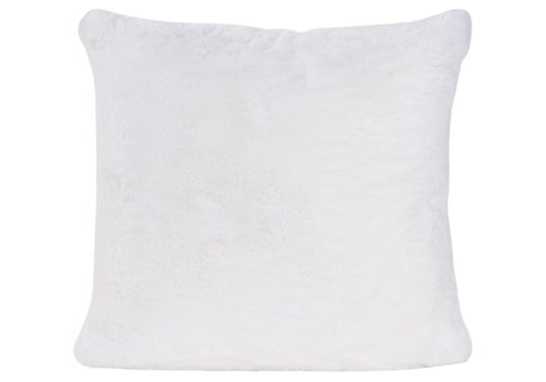 Winter-Home Cushion faux fur Guanaco white