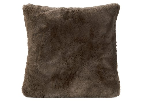 Winter-Home Cushion faux fur Guanaco Smoke