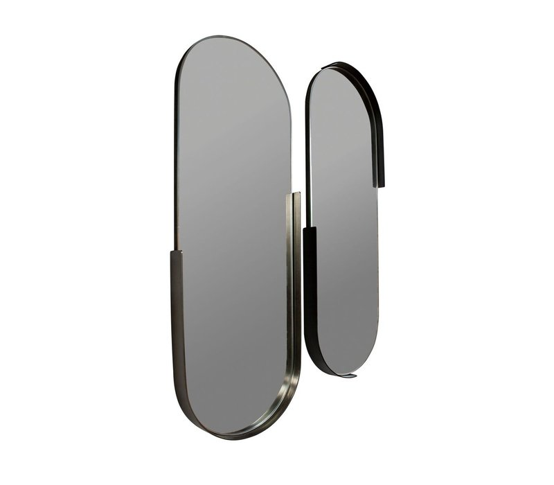 Oval mirrors - set of 2 - color Anthracite