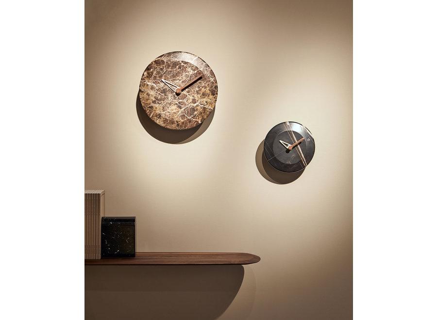 Wall clock 'Bari' Brown Marble