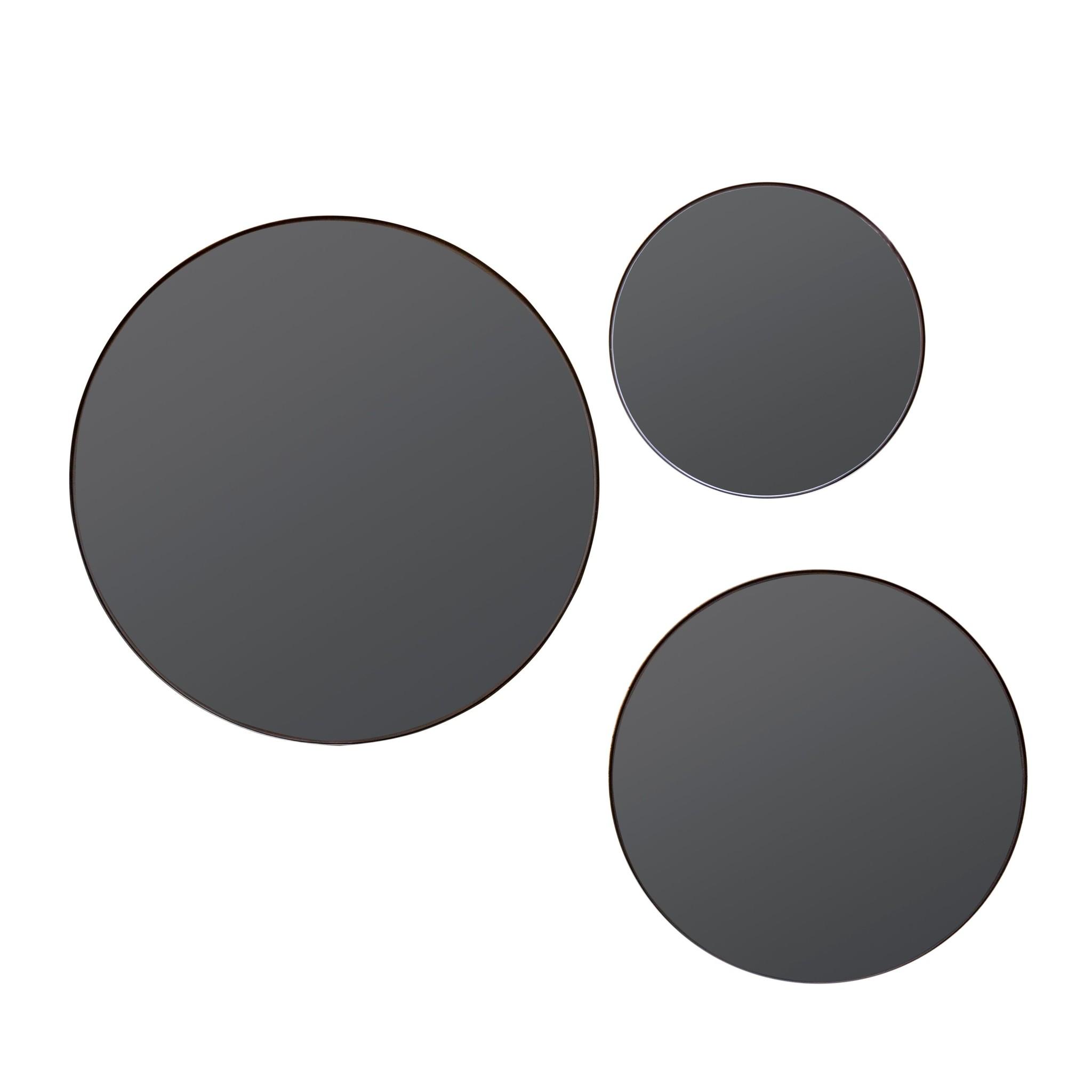 Goede Ronde spiegel set van 3 - Zwart - Wilhelmina Designs QS-04