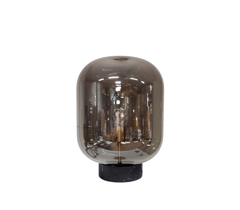 Die Tischlampe ''Glass with marble base' hat ein modernes Design