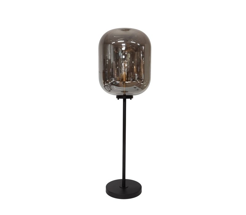 Floor lamp ''Glass with metal base''  has a modern design