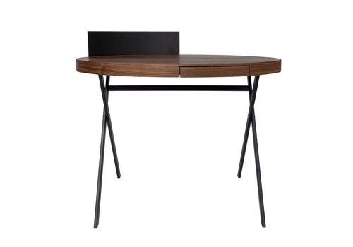 Dome Deco Desk oval 'Plato' - Walnut Wood brown