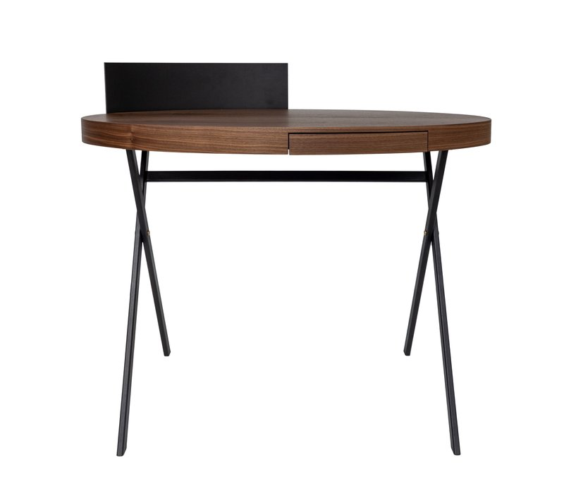 Schreibtisch oval 'Plato' in Nussbaum - L100 x B56 x H90 cm