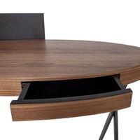Schreibtisch oval 'Plato' - Walnut Wood brown