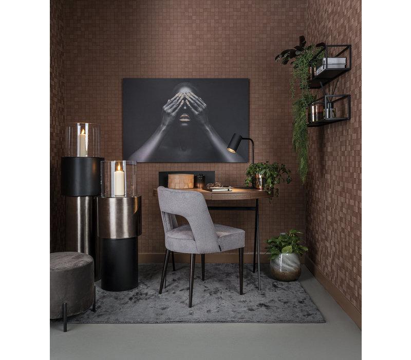Bureau ovaal 'Plato' in walnoothout - L100 x W56 x H90 cm