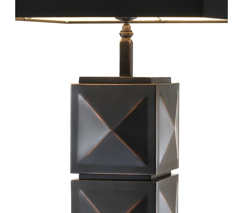 Table lamp 'Carlo' with black square shade