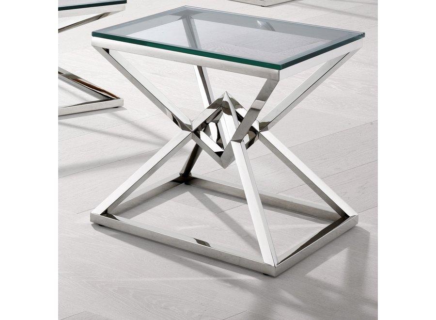 Glazen bijzettafel 'Connor', 50,5 x 65 x H. 60 cm