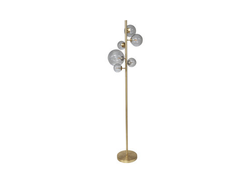 Dome Deco Floor lamp Metal Gold & Smoke Glass + Led