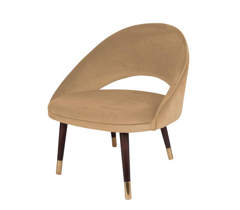 Gebogen lounge chair 'Brown/Gold' met houten poten