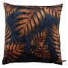 CLAUDI Cushion Jungle Leaves Ice Royal Blue / Copper