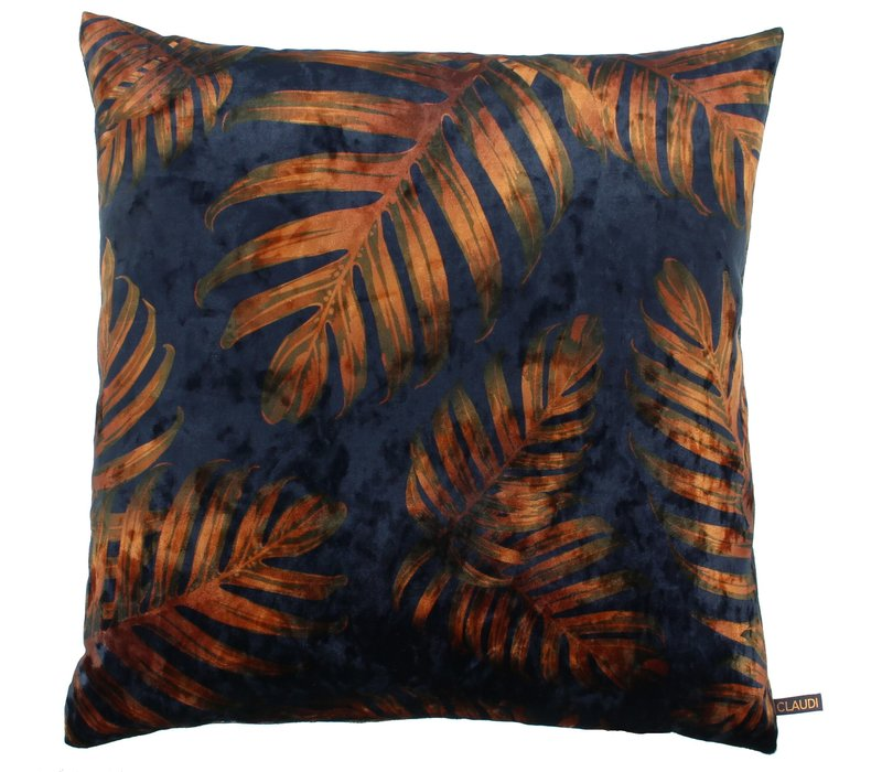 Cushion Jungle Leaves Ice Royal Blue / Copper