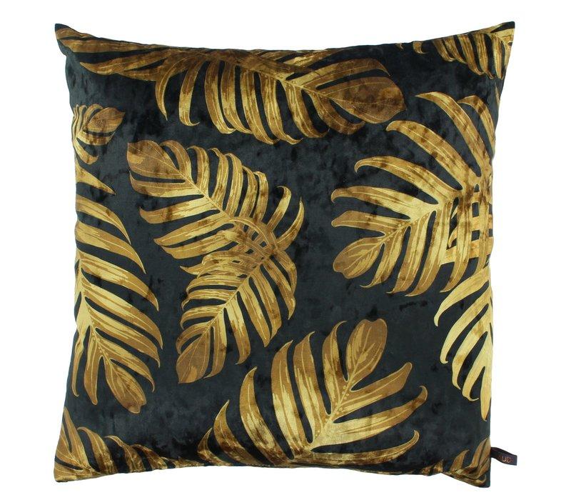 Cushion Jungle Leaves Ice Black / Gold