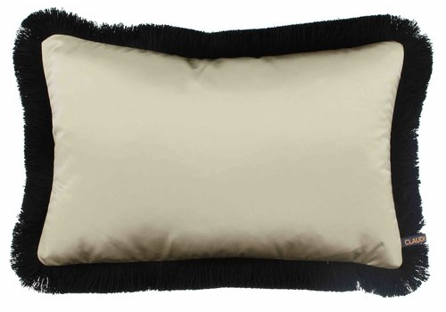 CLAUDI throw pillow Dafne Gold Fringe Black