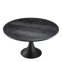 Eettafel 'Melchior' rond in de kleur zwart