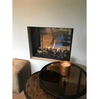 Ronde bijzettafel met bruin glas