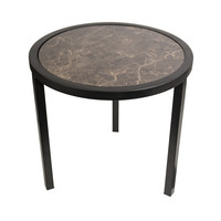 Round Side table with brown marble