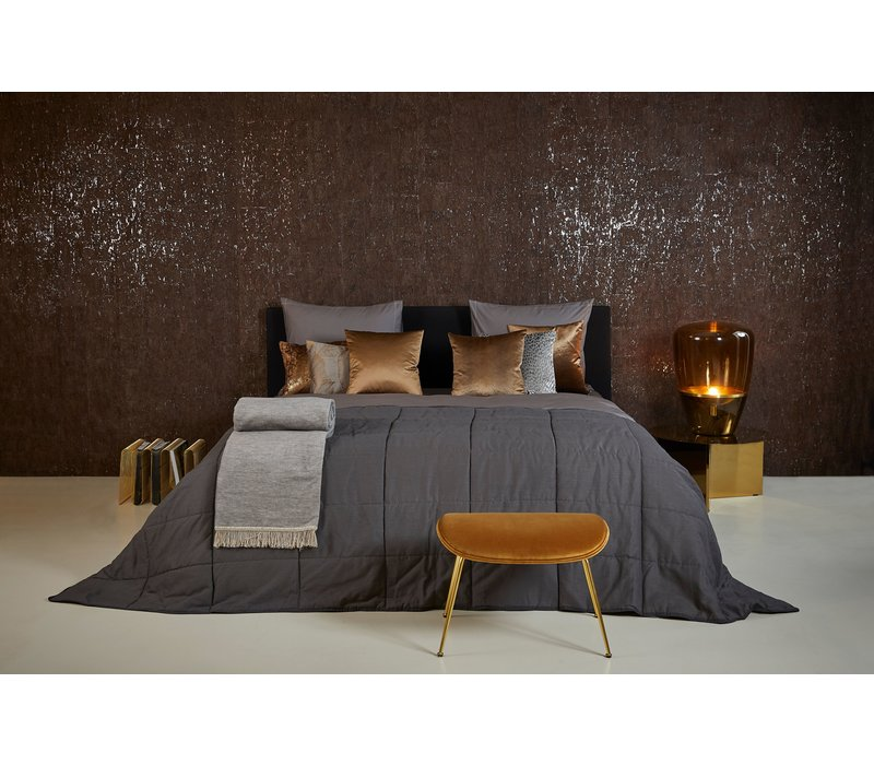 Bedspread Maia Stitched in the color Dark Taupe