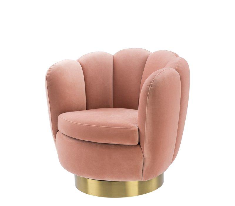 Swivel armchair 'Mirage' Savona Nude Velvet