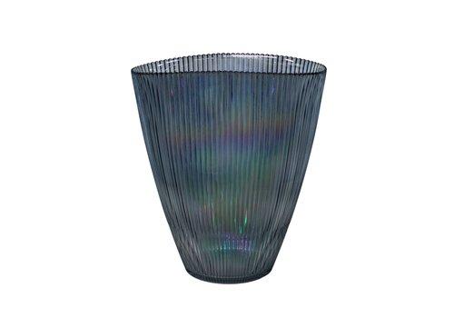 Dome Deco Blauwe glazen vaas 'Luce' met metallic glans