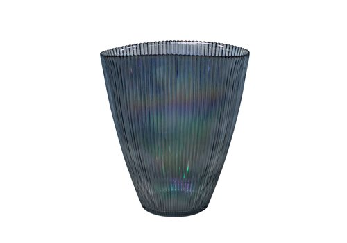 Dome Deco Blue glass vase 'Luce' with metallic luster