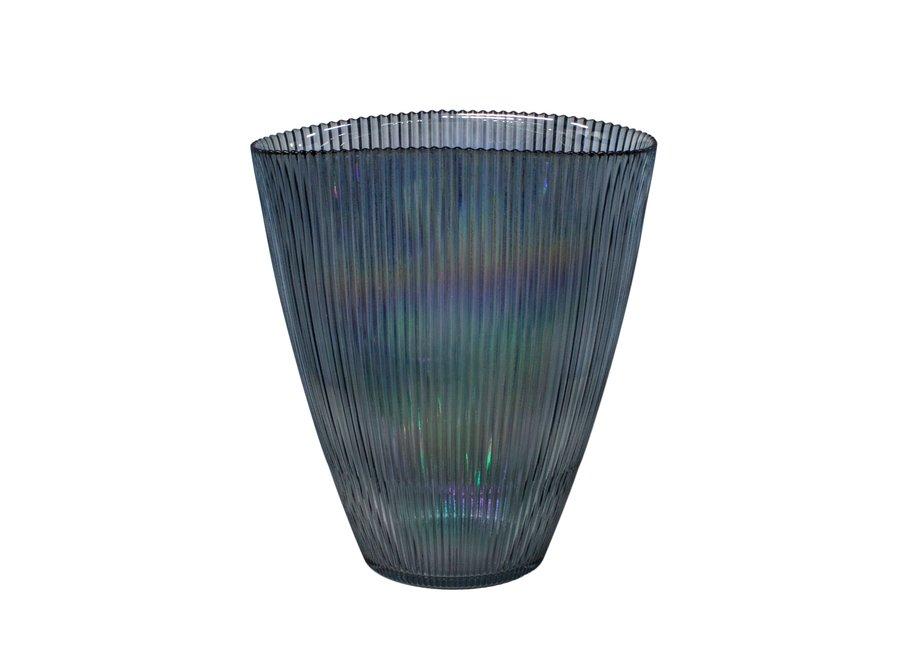 Blauwe glazen vaas 'Luce' met metallic glans