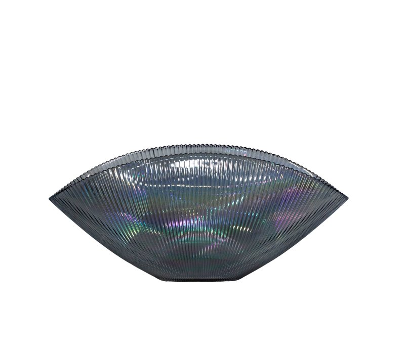 Blue glass bowl 'Luce' - L41 x W20 x H18 cm