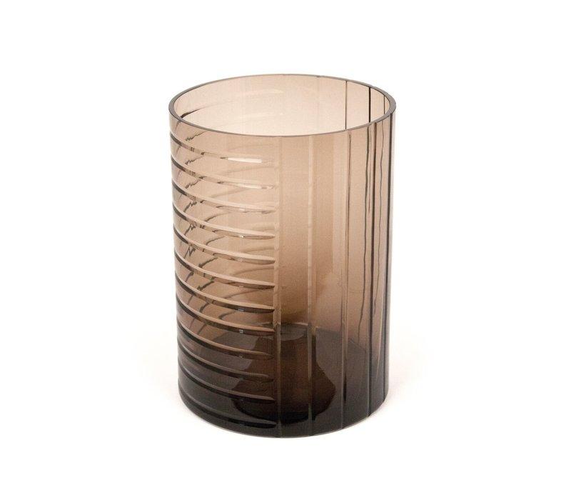 Windlicht/vaas 'Brown' van  glas - H25 x D18 cm