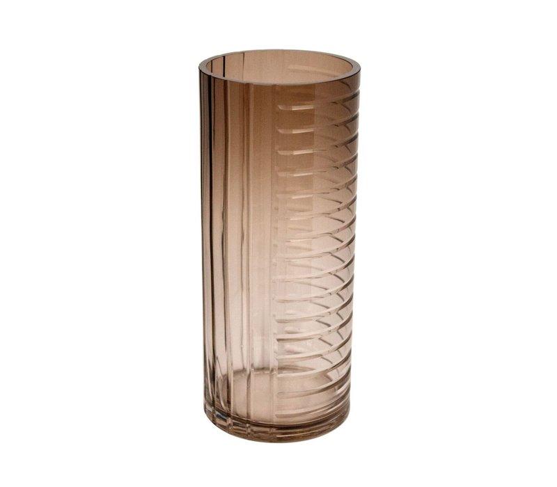 Windlicht/vaas 'Brown' van  glas - H35 x D15 cm