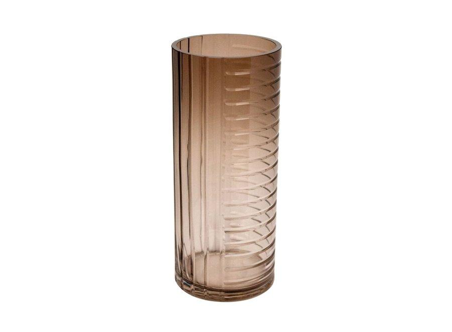 Glazen windlicht/vaas 'Brown' - M