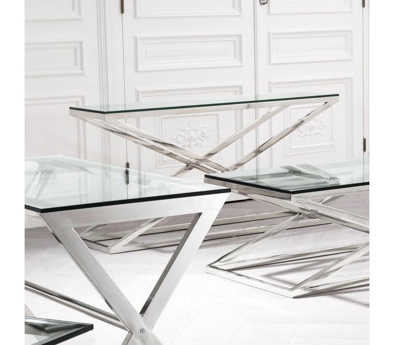 Glass console table 'Criss Cross'