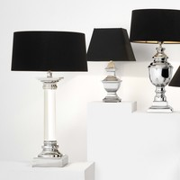 Metropolis table lamp with black shade, 73 cm high