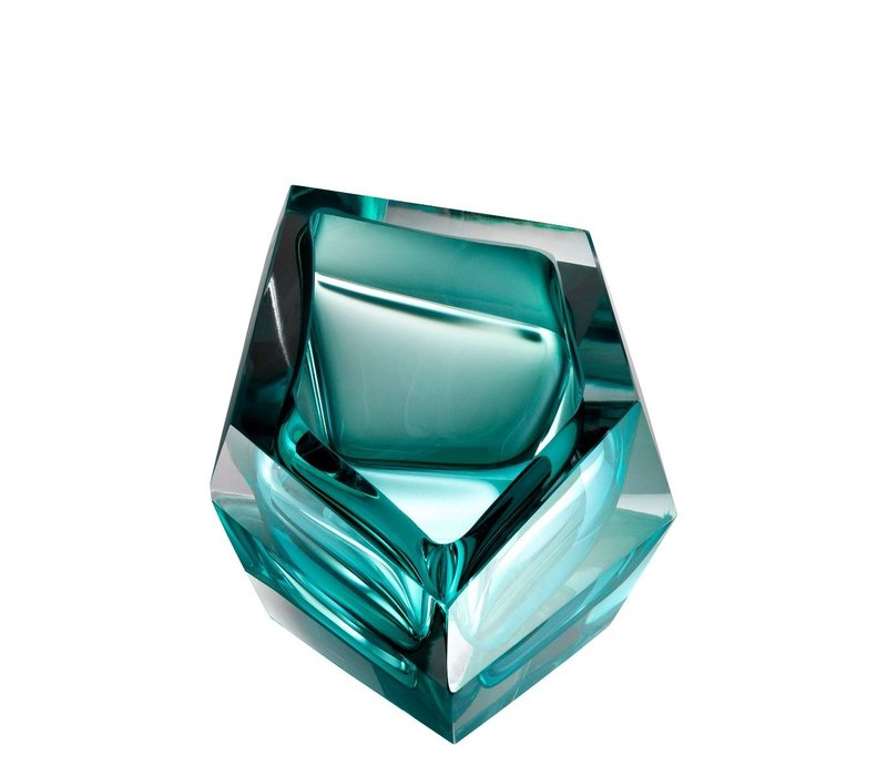 Bowl 'Alma'  Turquoise Crystal Glass