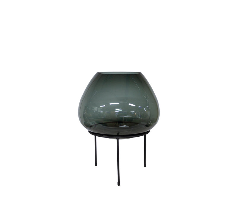Große Vase auf schwarzem Standard - S