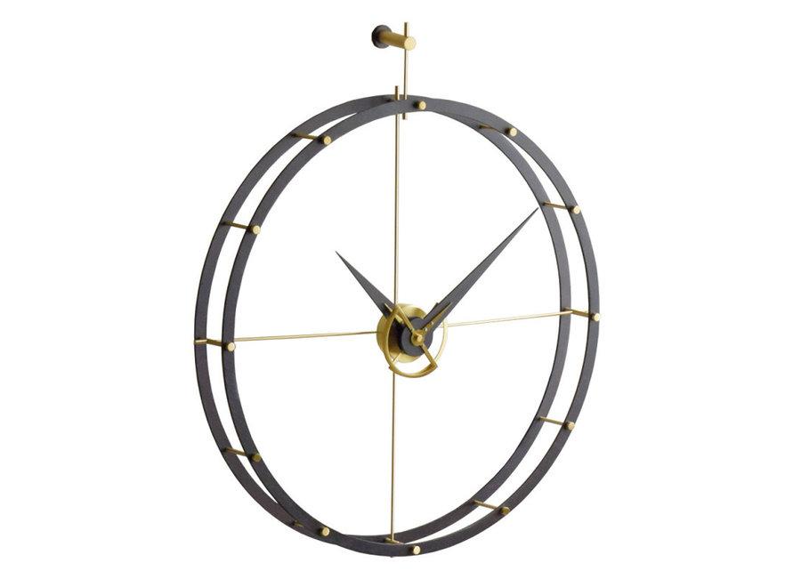 Design wandklok 'Doble O g' Calabo hout/gold diameter 70cm